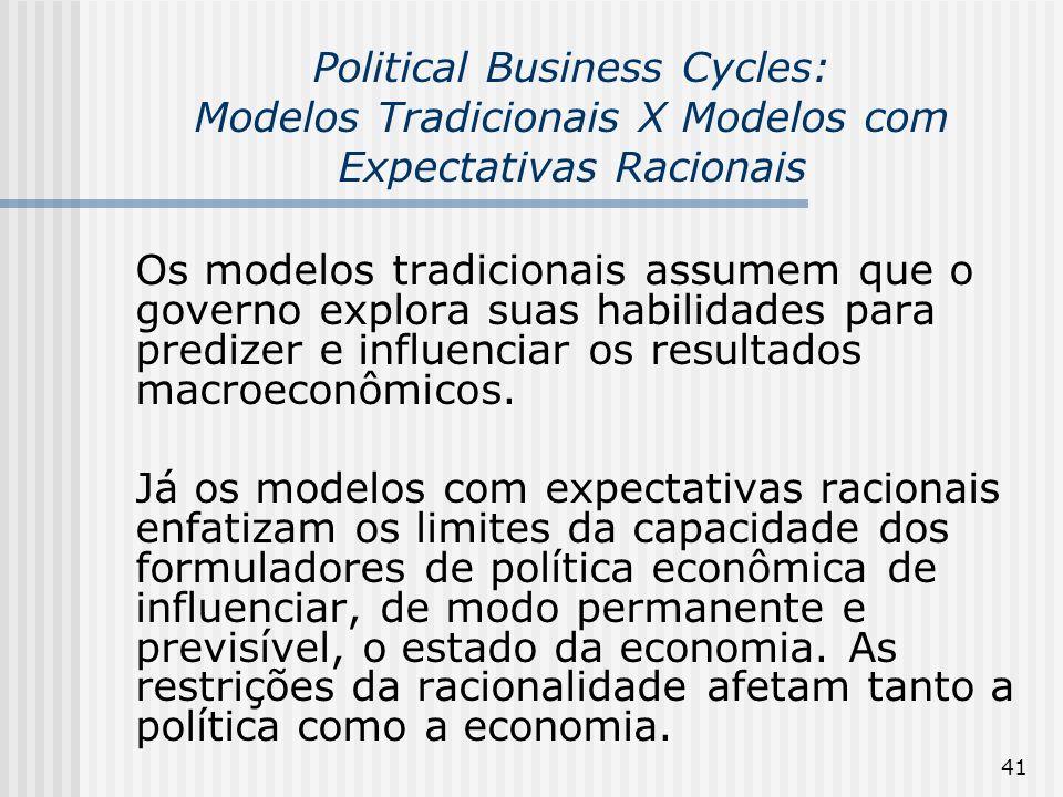 Political Business Cycles: Modelos Tradicionais X Modelos com Expectativas Racionais