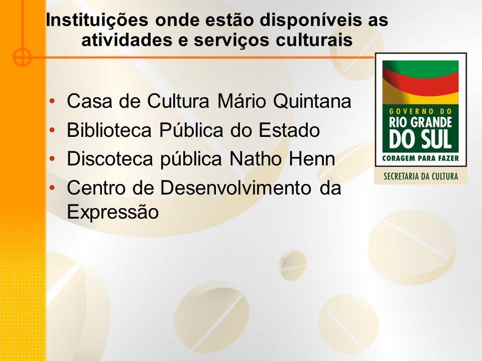 Instituições onde estão disponíveis as atividades e serviços culturais
