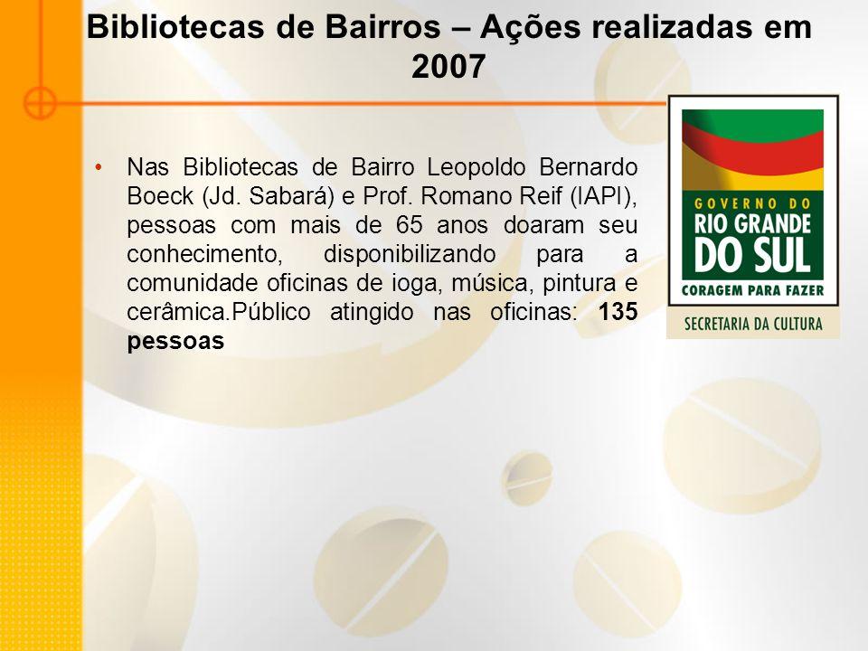 Bibliotecas de Bairros – Ações realizadas em 2007