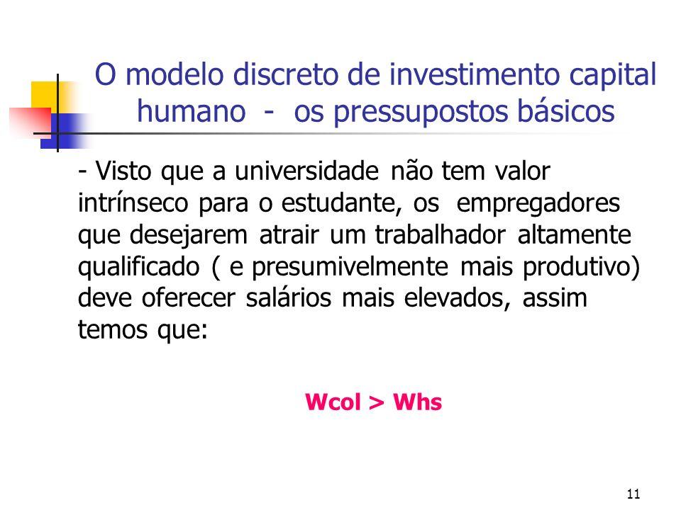 O modelo discreto de investimento capital humano - os pressupostos básicos