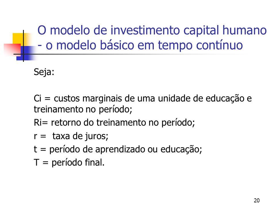 O modelo de investimento capital humano - o modelo básico em tempo contínuo