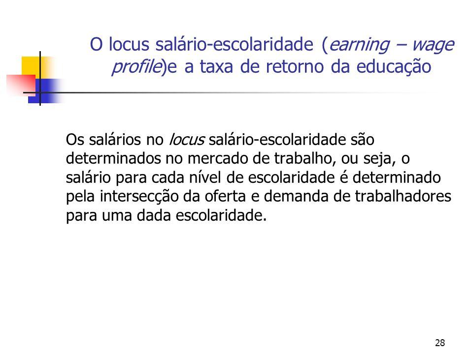 O locus salário-escolaridade (earning – wage profile)e a taxa de retorno da educação