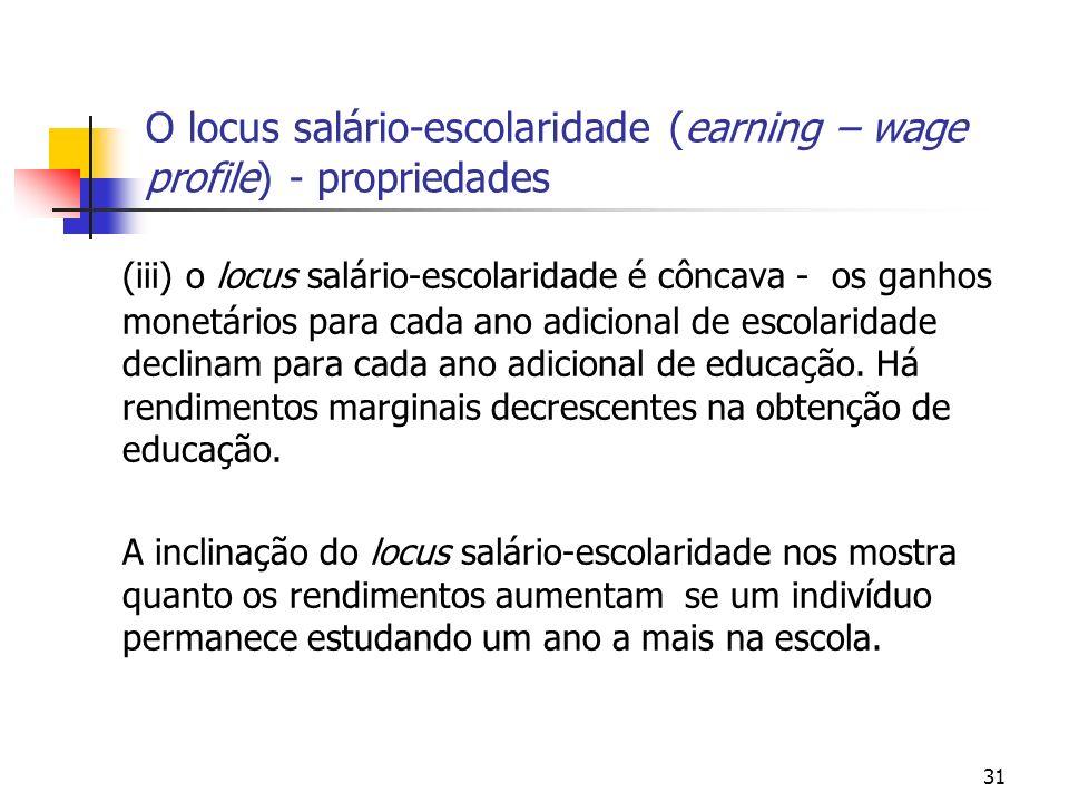 O locus salário-escolaridade (earning – wage profile) - propriedades