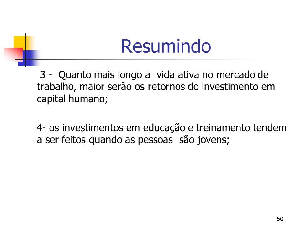 Resumindo3 - Quanto mais longo a vida ativa no mercado de trabalho, maior serão os retornos do investimento em capital humano;