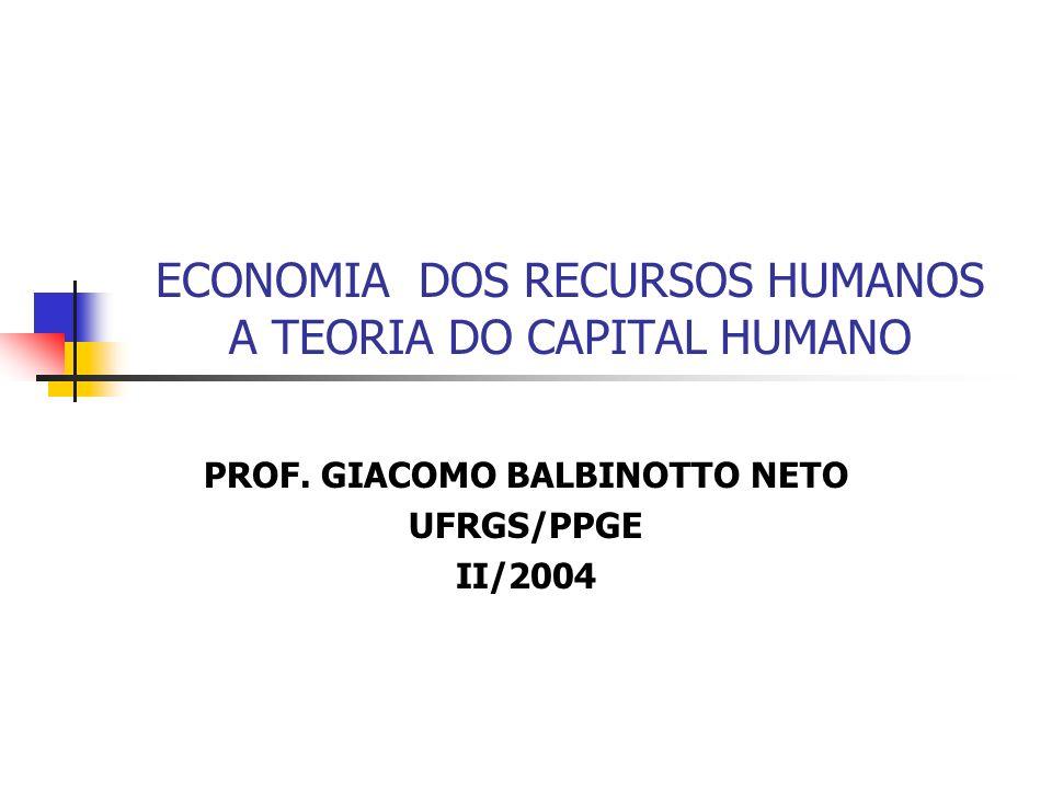 ECONOMIA DOS RECURSOS HUMANOS A TEORIA DO CAPITAL HUMANO