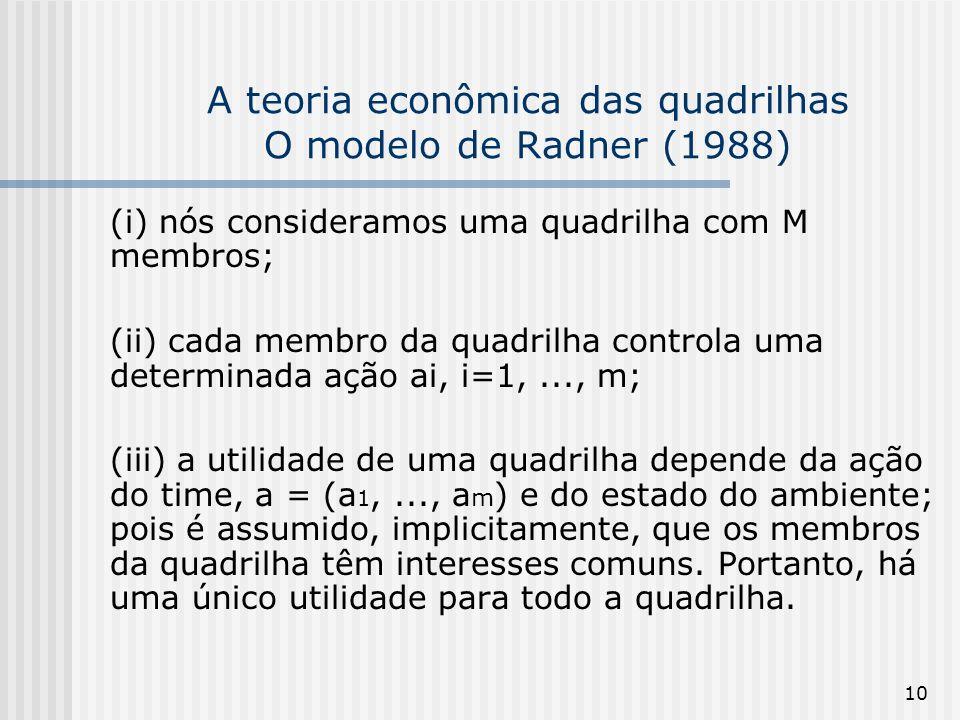 A teoria econômica das quadrilhas O modelo de Radner (1988)