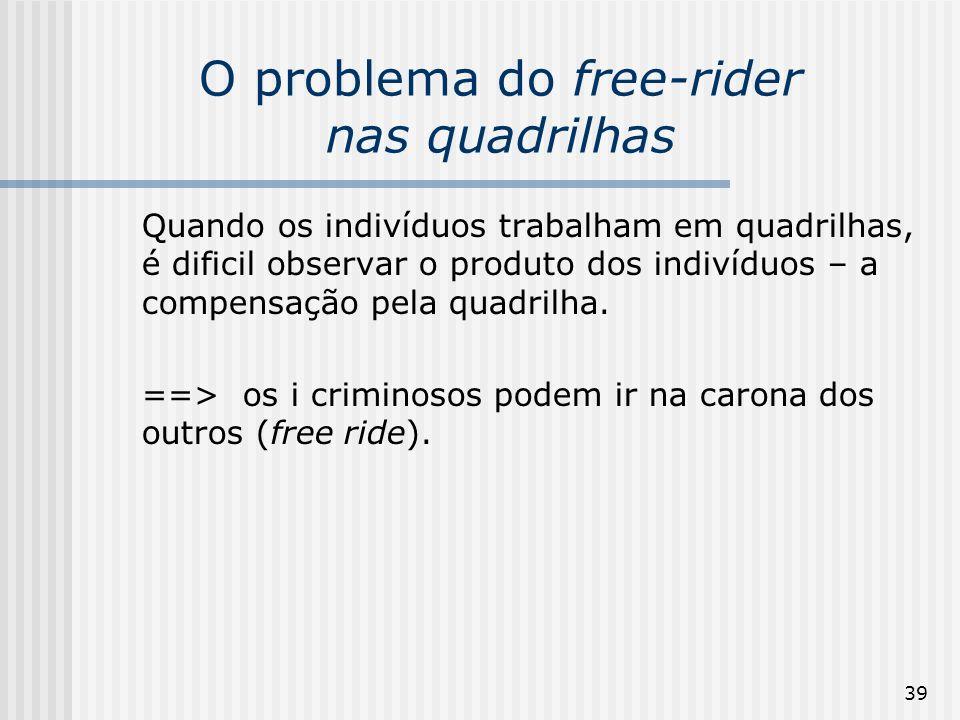 O problema do free-rider nas quadrilhas