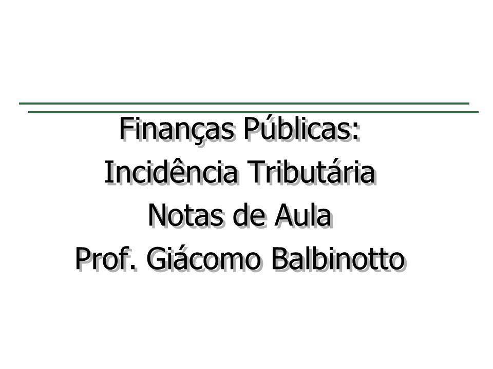 Incidência Tributária Notas de Aula Prof. Giácomo Balbinotto