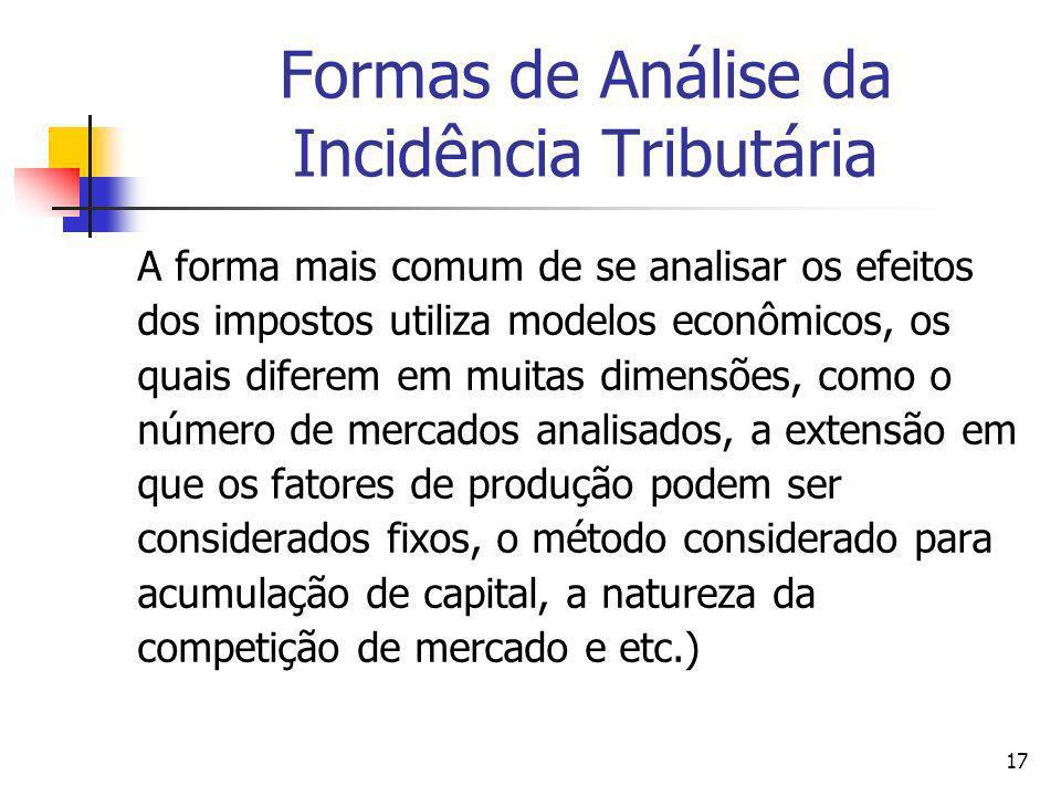 Formas de Análise da Incidência Tributária