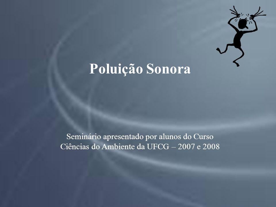 Poluição Sonora Seminário apresentado por alunos do Curso Ciências do Ambiente da UFCG – 2007 e 2008.