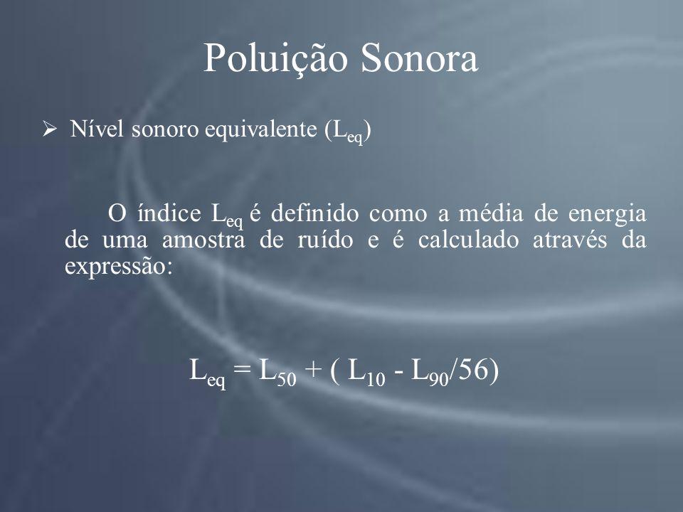 Poluição Sonora Leq = L50 + ( L10 - L90/56)