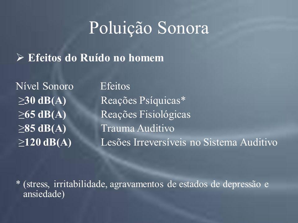 Poluição Sonora Efeitos do Ruído no homem Nível Sonoro Efeitos