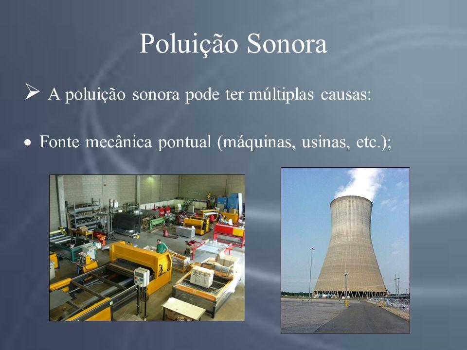 Poluição Sonora A poluição sonora pode ter múltiplas causas: