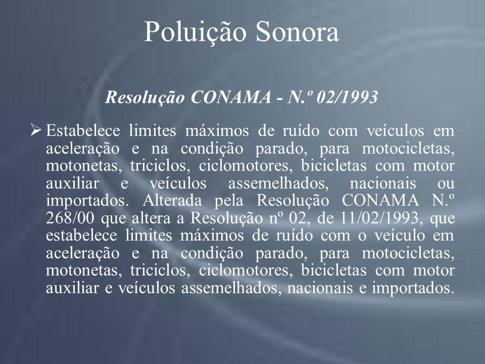 Poluição Sonora Resolução CONAMA - N.º 02/1993