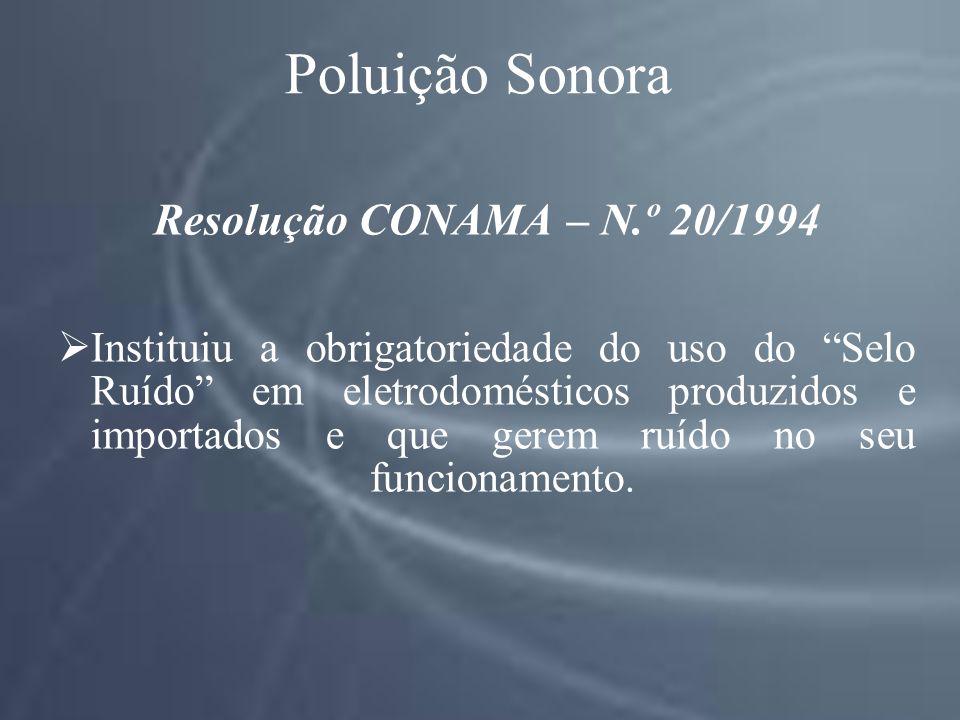 Poluição Sonora Resolução CONAMA – N.º 20/1994