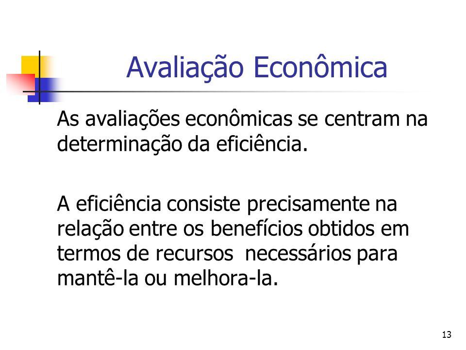 Avaliação Econômica As avaliações econômicas se centram na determinação da eficiência.