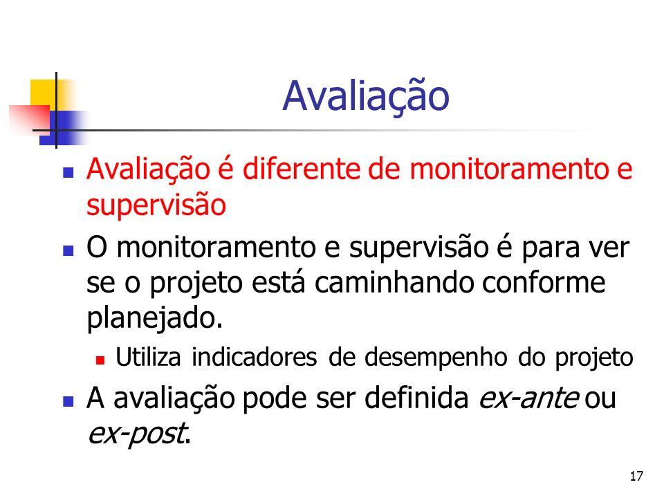Avaliação Avaliação é diferente de monitoramento e supervisão