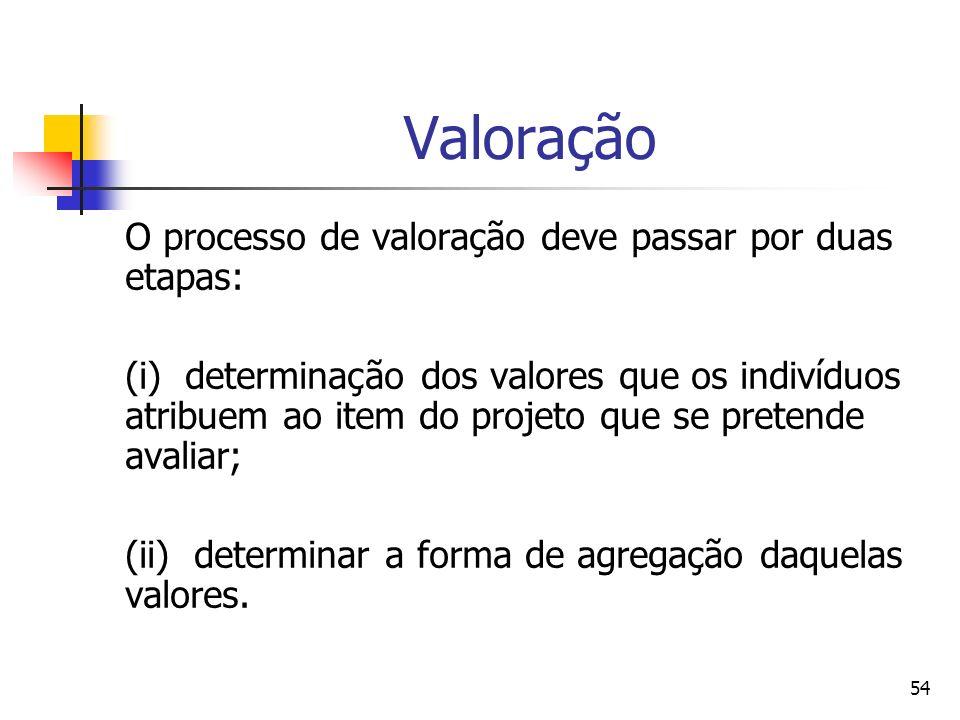 Valoração O processo de valoração deve passar por duas etapas: