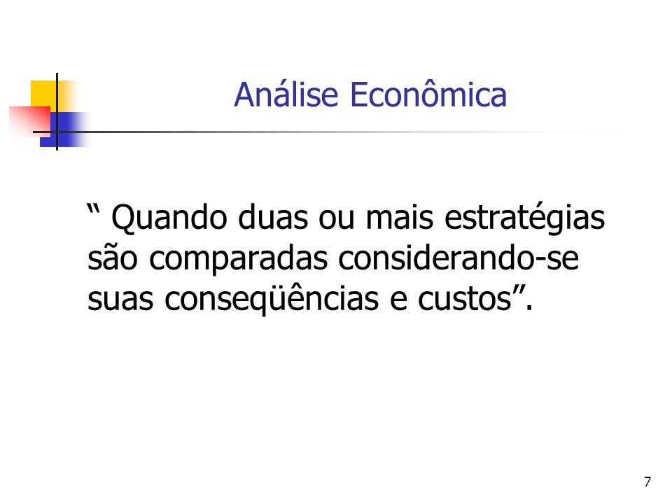Análise Econômica Quando duas ou mais estratégias são comparadas considerando-se suas conseqüências e custos .