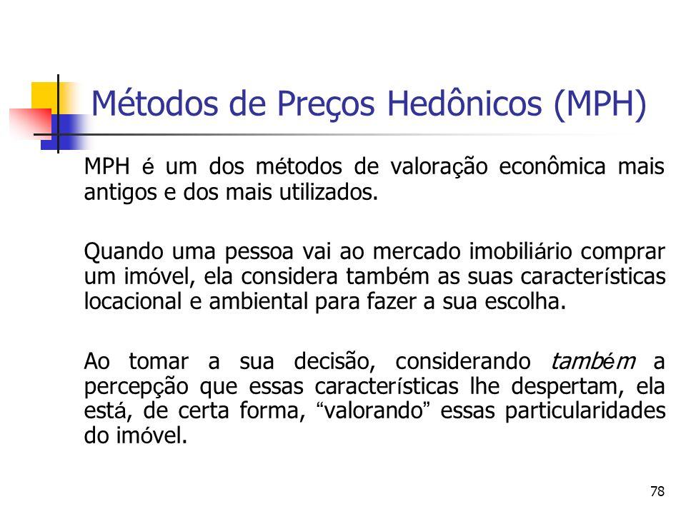 Métodos de Preços Hedônicos (MPH)