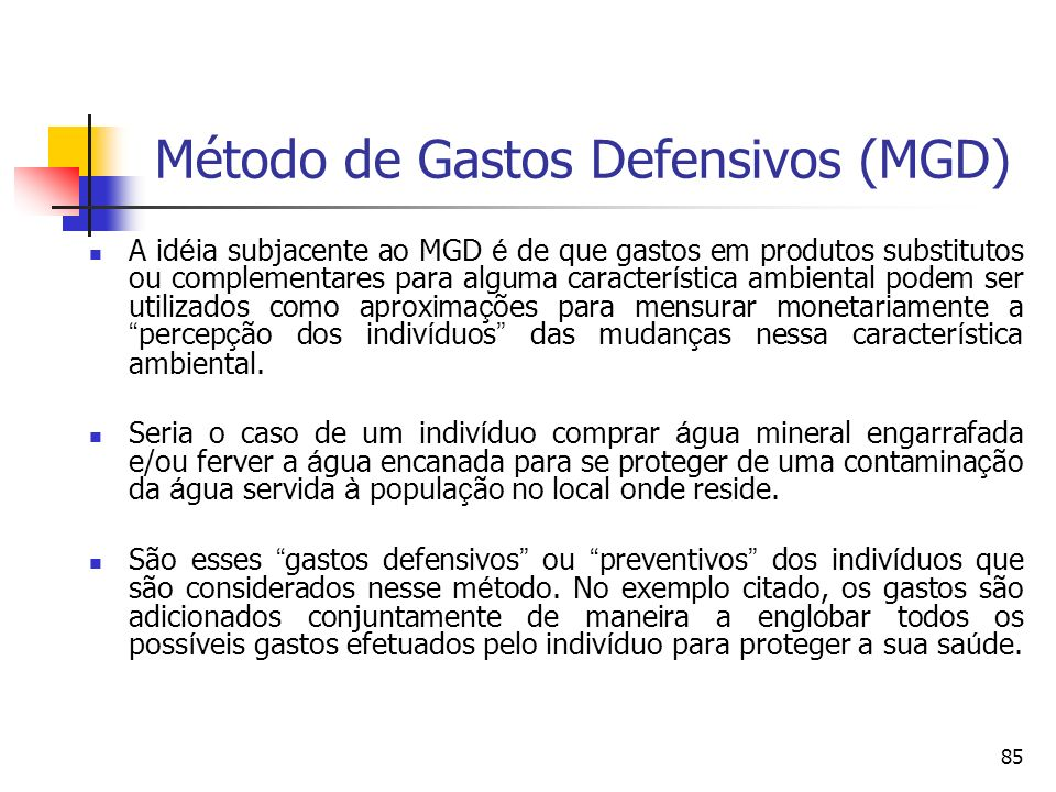 Método de Gastos Defensivos (MGD)