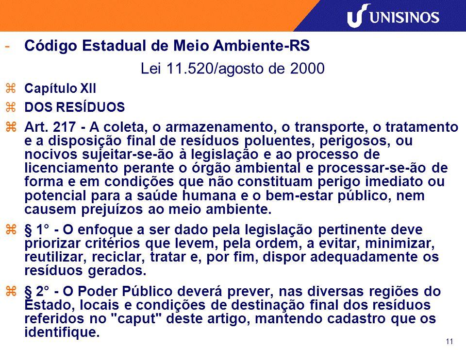 Código Estadual de Meio Ambiente-RS Lei 11.520/agosto de 2000