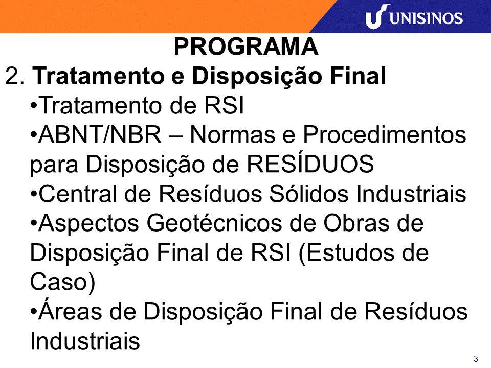 PROGRAMA2. Tratamento e Disposição Final. Tratamento de RSI. ABNT/NBR – Normas e Procedimentos para Disposição de RESÍDUOS.