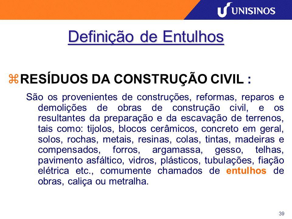 Definição de Entulhos RESÍDUOS DA CONSTRUÇÃO CIVIL :