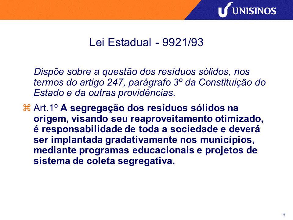 Lei Estadual - 9921/93