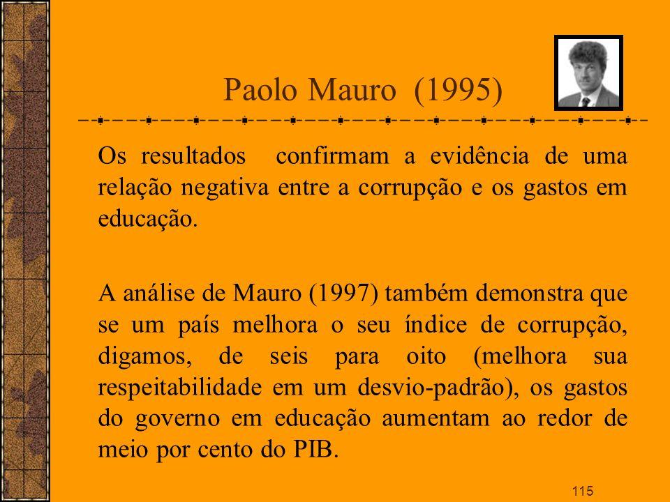 Paolo Mauro (1995) Os resultados confirmam a evidência de uma relação negativa entre a corrupção e os gastos em educação.