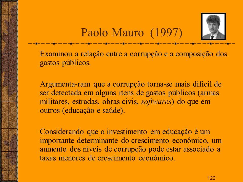 Paolo Mauro (1997)Examinou a relação entre a corrupção e a composição dos gastos públicos.