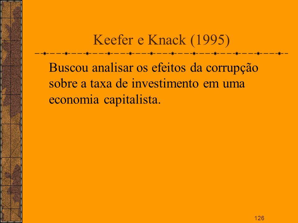 Keefer e Knack (1995)Buscou analisar os efeitos da corrupção sobre a taxa de investimento em uma economia capitalista.