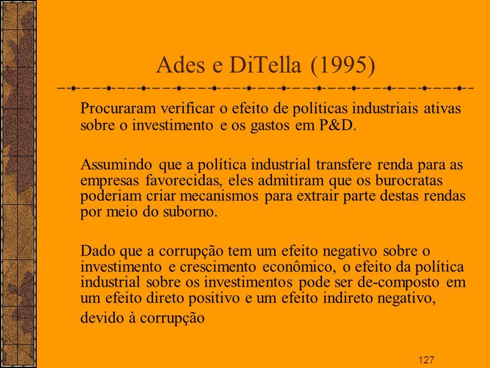 Ades e DiTella (1995) Procuraram verificar o efeito de políticas industriais ativas sobre o investimento e os gastos em P&D.