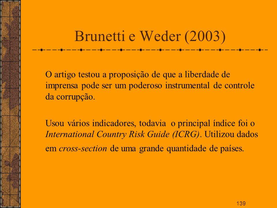 Brunetti e Weder (2003) O artigo testou a proposição de que a liberdade de imprensa pode ser um poderoso instrumental de controle da corrupção.