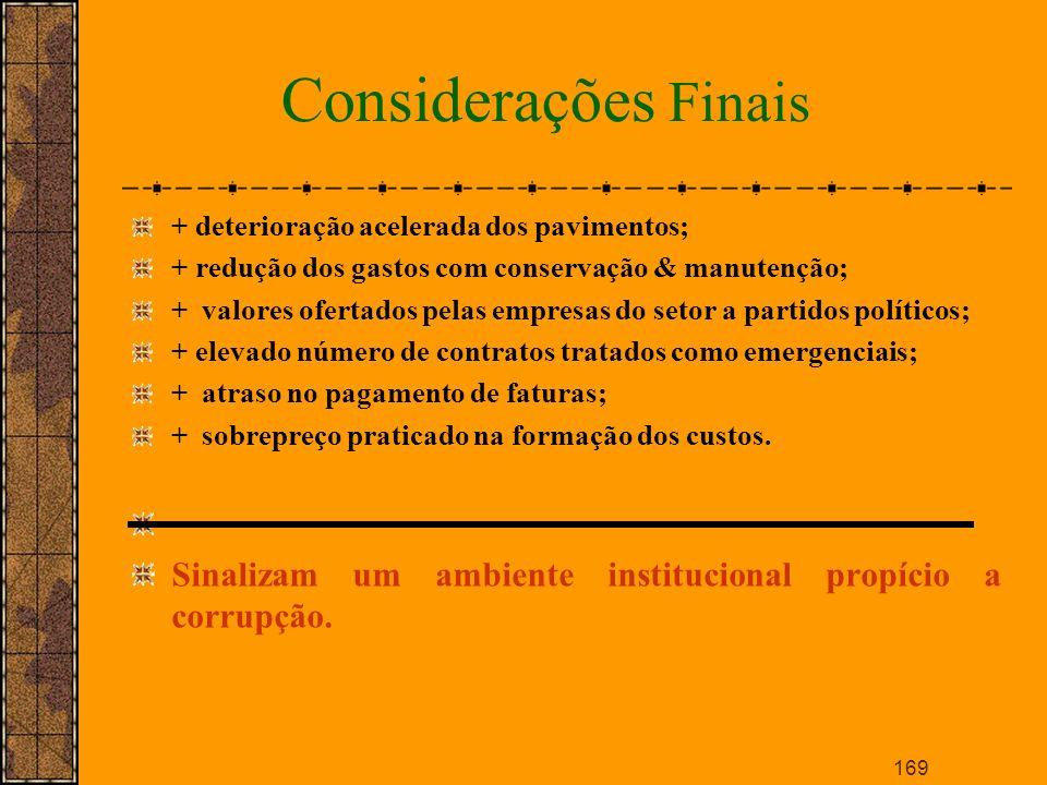Considerações Finais + deterioração acelerada dos pavimentos; + redução dos gastos com conservação & manutenção;