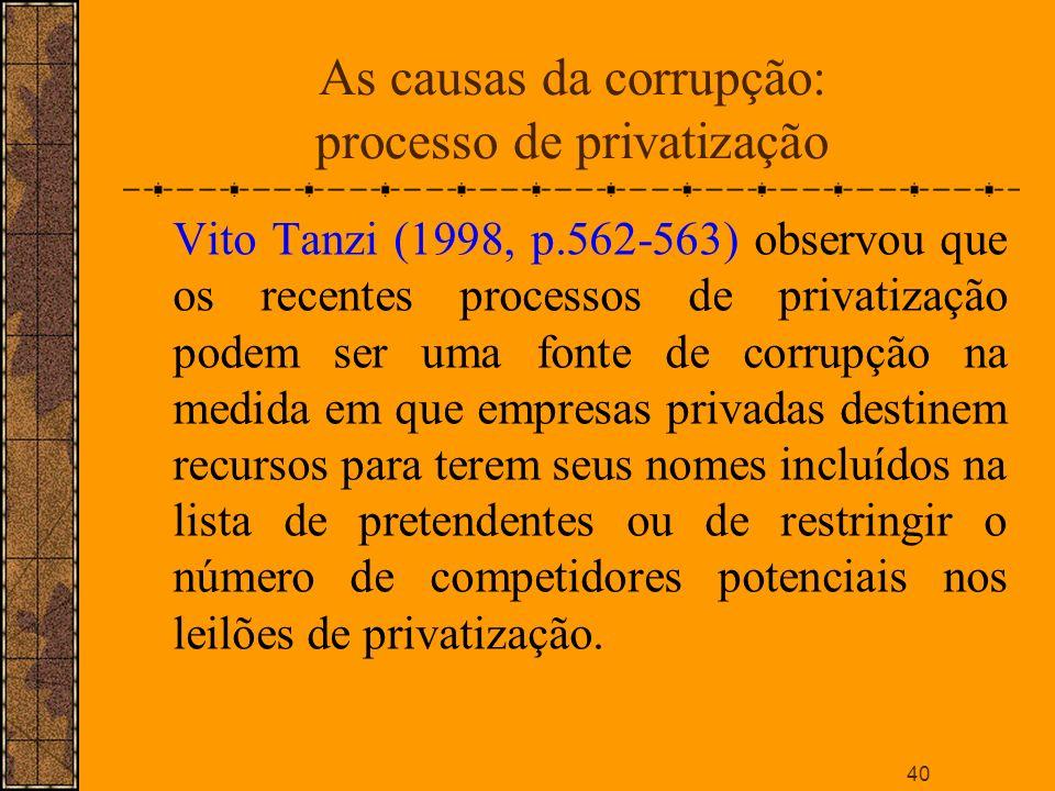 As causas da corrupção: processo de privatização