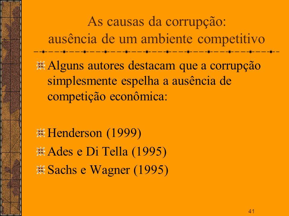 As causas da corrupção: ausência de um ambiente competitivo
