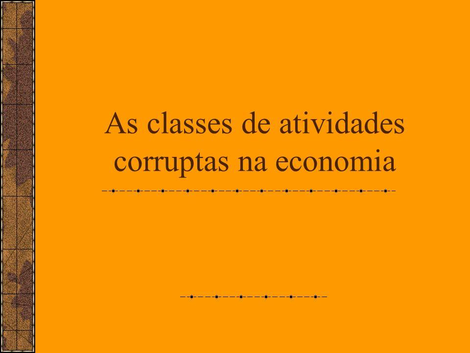As classes de atividades corruptas na economia