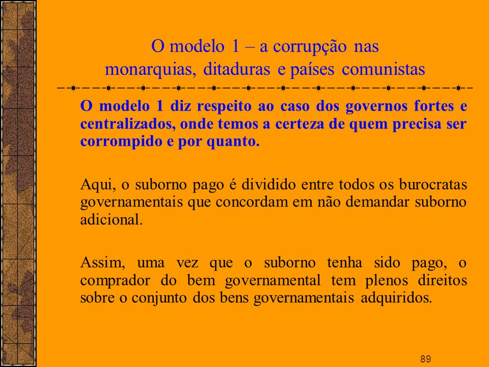 O modelo 1 – a corrupção nas monarquias, ditaduras e países comunistas