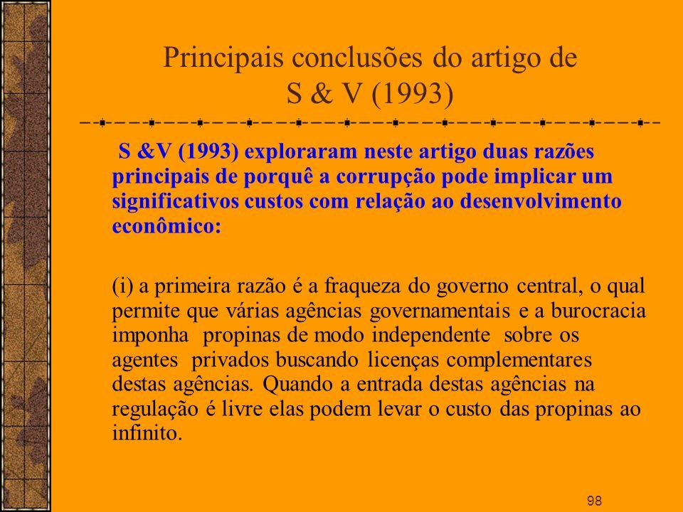 Principais conclusões do artigo de S & V (1993)
