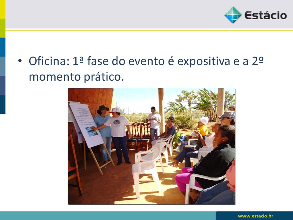 Oficina: 1ª fase do evento é expositiva e a 2º momento prático.