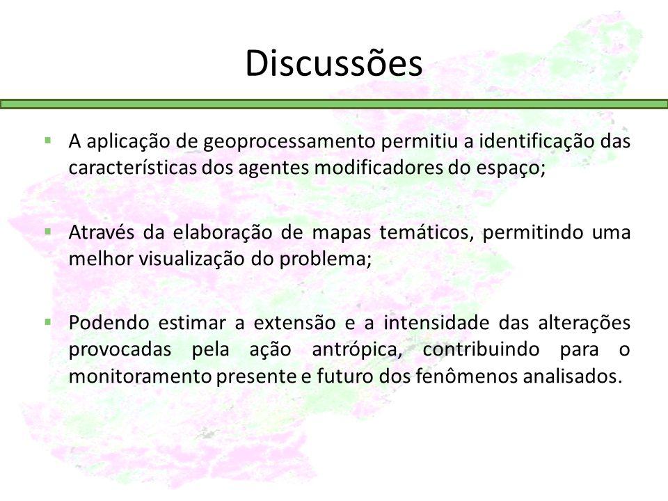 Discussões A aplicação de geoprocessamento permitiu a identificação das características dos agentes modificadores do espaço;
