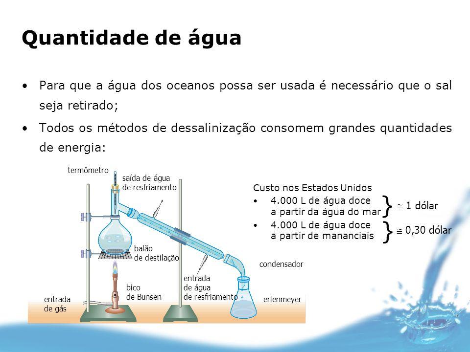 Quantidade de águaPara que a água dos oceanos possa ser usada é necessário que o sal seja retirado;