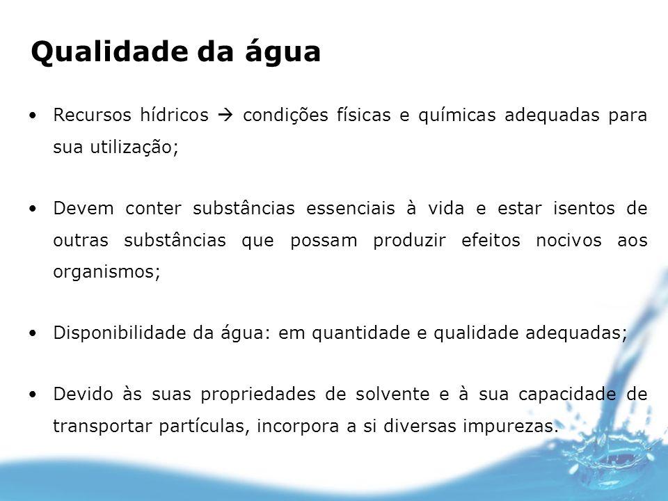 Qualidade da águaRecursos hídricos  condições físicas e químicas adequadas para sua utilização;