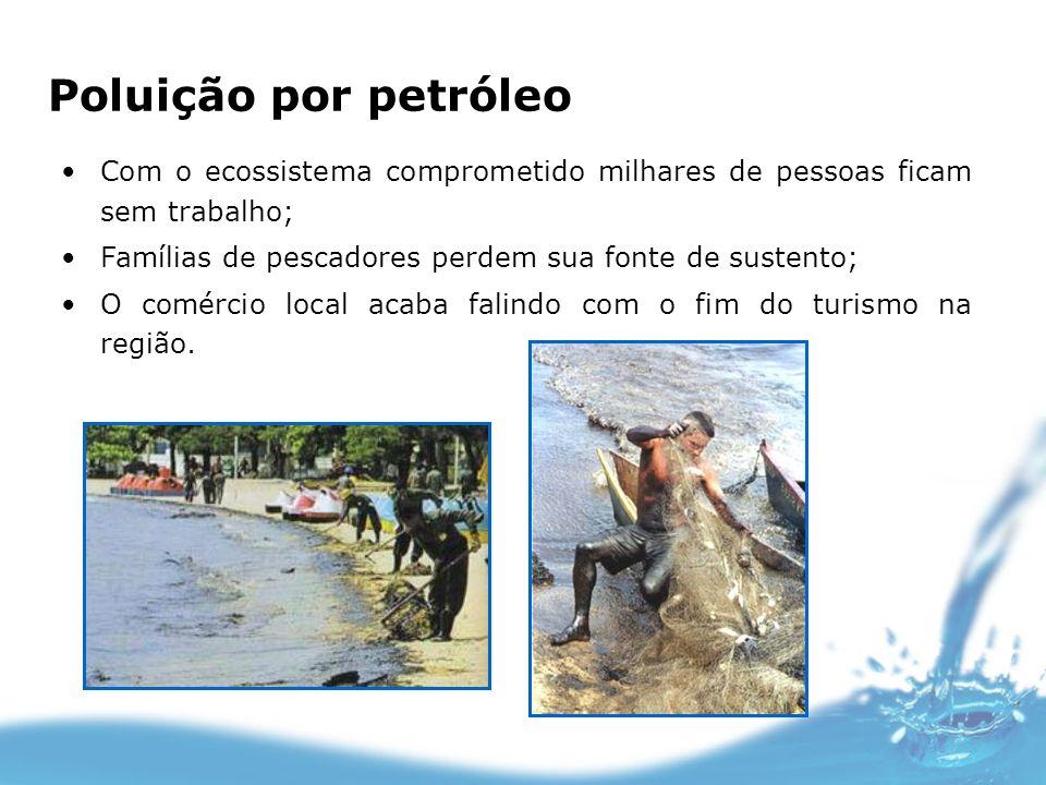 Poluição por petróleoCom o ecossistema comprometido milhares de pessoas ficam sem trabalho; Famílias de pescadores perdem sua fonte de sustento;