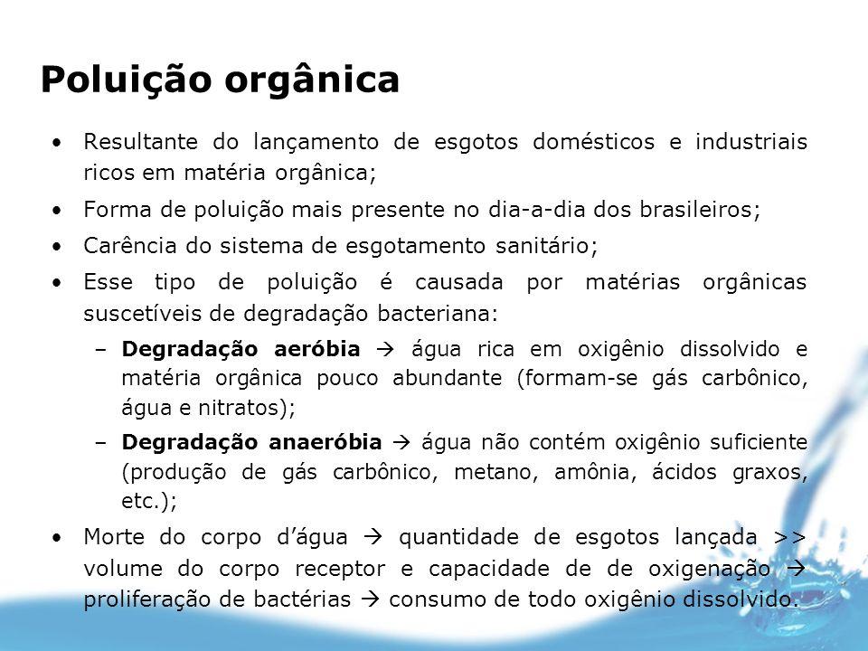 Poluição orgânicaResultante do lançamento de esgotos domésticos e industriais ricos em matéria orgânica;