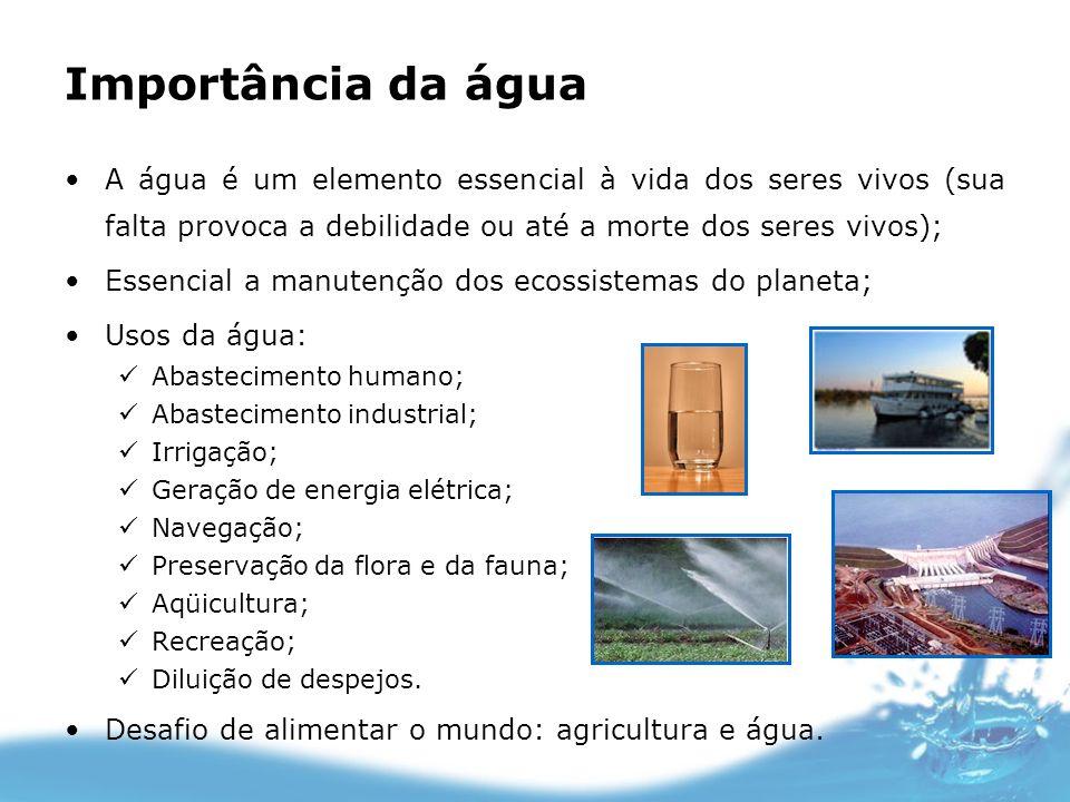 Importância da águaA água é um elemento essencial à vida dos seres vivos (sua falta provoca a debilidade ou até a morte dos seres vivos);