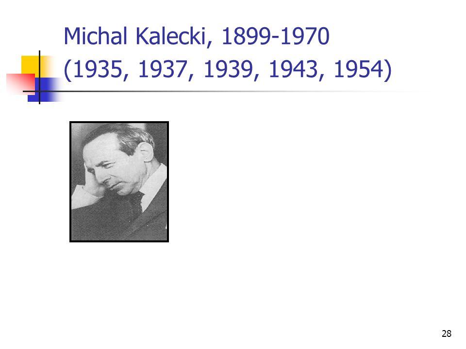 Michal Kalecki, 1899-1970 (1935, 1937, 1939, 1943, 1954)