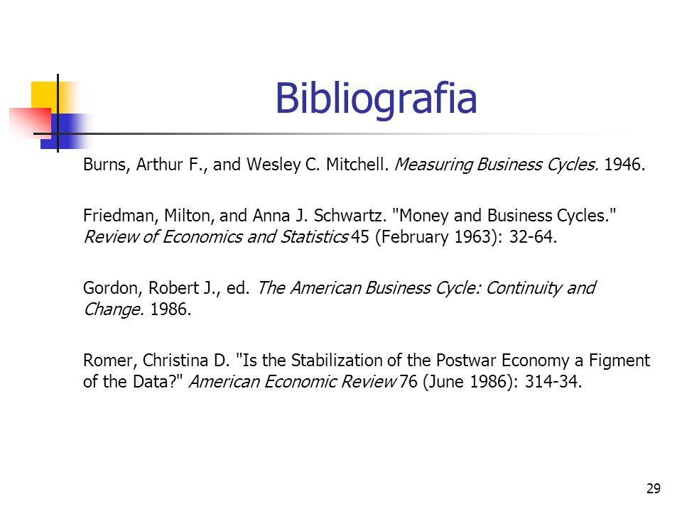 Bibliografia Burns, Arthur F., and Wesley C. Mitchell. Measuring Business Cycles. 1946.