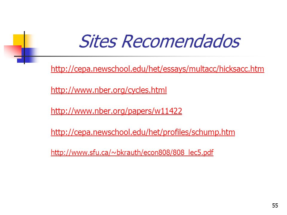 Sites Recomendados http://cepa.newschool.edu/het/essays/multacc/hicksacc.htm. http://www.nber.org/cycles.html.
